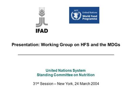 Presentation: Working Group on HFS and the MDGs _______________________________________ 31 st Session – New York, 24 March 2004 United Nations System Standing.