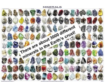 MINERALS There are about 3000 different minerals in the Earth's crust!