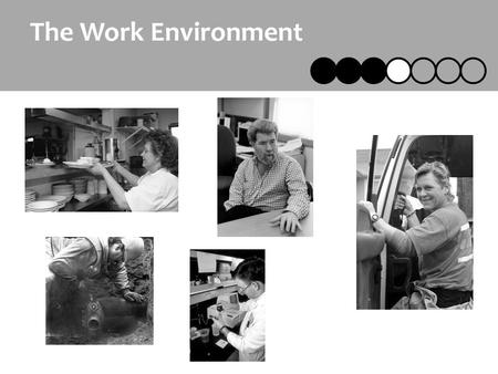 The Work Environment. Designing the Age Friendly Workplace2 Key Points The Work Environment The spaces where we work affect us throughout our lives We.