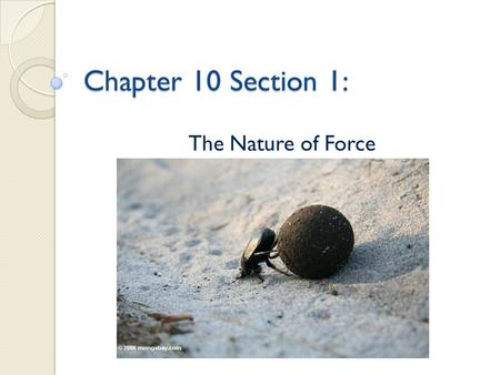 Chapter 10 Section 1: The Nature of Force. What is force? A force is a push or a pull.