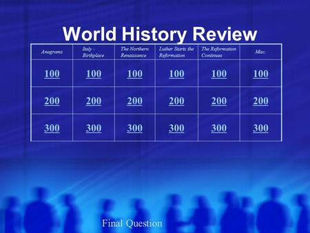 World History Review Anagrams Italy - Birthplace The Northern Renaissance Luther Starts the Reformation The Reformation Continues Misc. 100 200 300 Final.