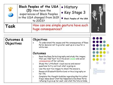 Outcomes & Objectives Objectives To understand the causes and the consequences of Rosa Parks' decision not to give her seat up on a bus for a white man.