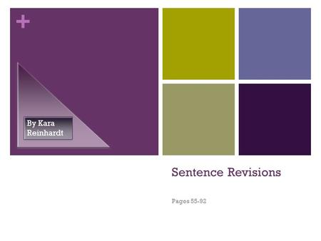 + Sentence Revisions Pages 55-92 By Kara Reinhardt.