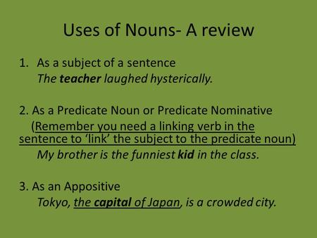 Uses of <strong>Nouns</strong>- A review 1.As a subject of a sentence The teacher laughed hysterically. 2. As a Predicate <strong>Noun</strong> or Predicate Nominative (Remember you need.