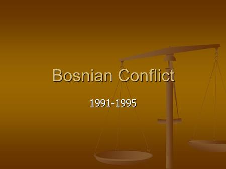 Bosnian Conflict 1991-1995. Events leading up to the Conflict Long-term Long-term Yugoslavia was formed after WWI Yugoslavia was formed after WWI Brought.