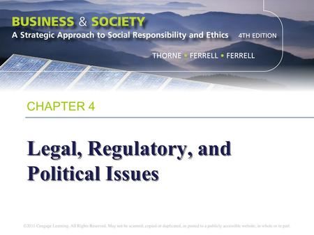 Legal, Regulatory, and Political Issues