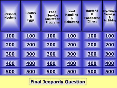 Final Jeopardy Question Personal Hygiene Poultry & Eggs 500 Chemicals, Cleaning, & Sanitizing Food Handling & Reheating Bacteria & Foodborne Illness 100.