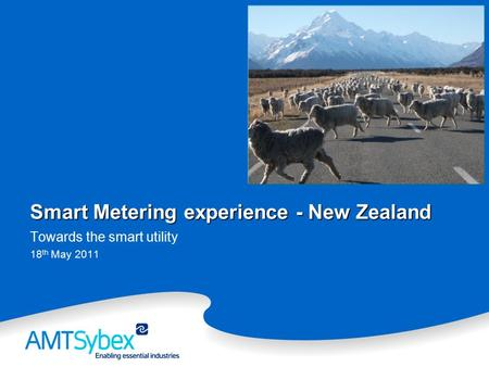 Smart Metering experience - New Zealand Towards the smart utility 18 th May 2011.