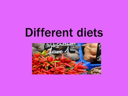 Different diets. Benefits of a vegetarian diet Vegetarians generally have much lower cholesterol levels than meat eaters and heart disease is less common.
