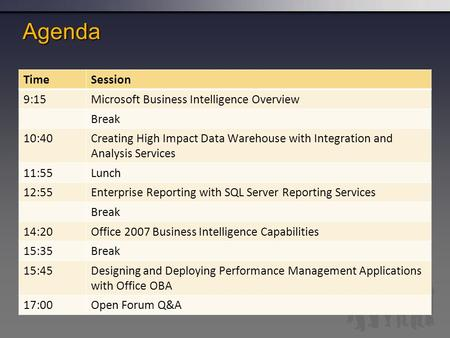 Agenda TimeSession 9:15Microsoft Business Intelligence Overview Break 10:40Creating High Impact Data Warehouse with Integration and Analysis Services 11:55Lunch.
