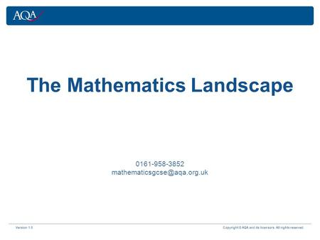 Version 1.0 Copyright © AQA and its licensors. All rights reserved. The Mathematics Landscape 0161-958-3852