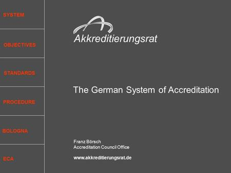 Akkreditierungsrat The German System of Accreditation Franz Börsch Accreditation Council Office www.akkreditierungsrat.de SYSTEM OBJECTIVES STANDARDS PROCEDURE.