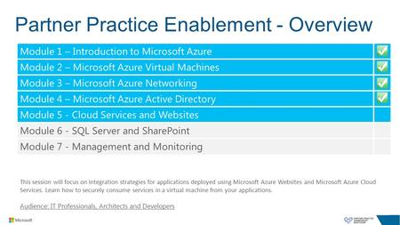 Partner Practice Enablement - Overview This session will focus on integration strategies for applications deployed using Microsoft Azure Websites and Microsoft.
