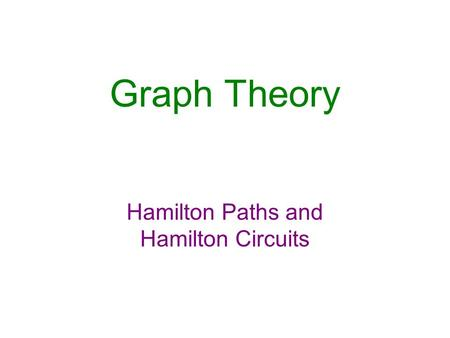 Graph Theory Hamilton Paths and Hamilton Circuits.