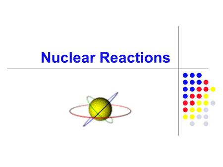 Nuclear Reactions. Notes: You need to write down everything in red for your notes If it is not in red, it is interesting to know, but not required Take.