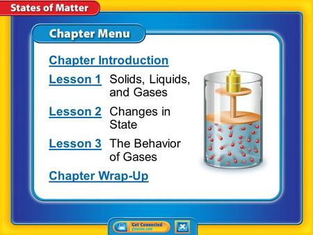 Chapter Menu Chapter Introduction Lesson 1Lesson 1Solids, Liquids, and Gases Lesson 2Lesson 2Changes in State Lesson 3Lesson 3The Behavior of Gases Chapter.