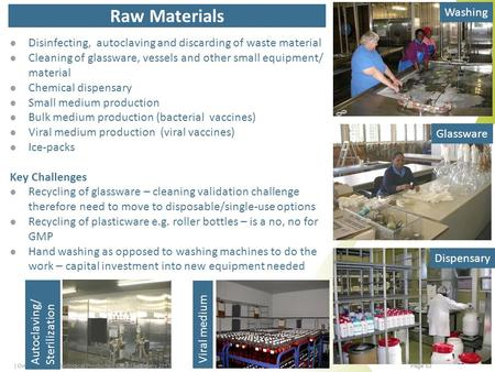 Raw Materials Disinfecting, autoclaving and discarding of waste material Cleaning of glassware, vessels and other small equipment/ material Chemical dispensary.