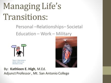 Managing Life's Transitions: Personal –Relationships– Societal Education – Work – Military By: Kathleen E. High, M.Ed. Adjunct Professor, Mt. San Antonio.