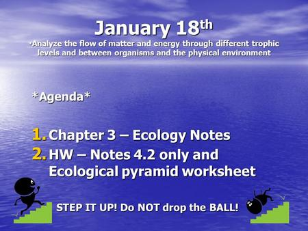 January 18 th * Analyze the flow of matter and energy through different trophic levels and between organisms and the physical environment *Agenda* 1. Chapter.