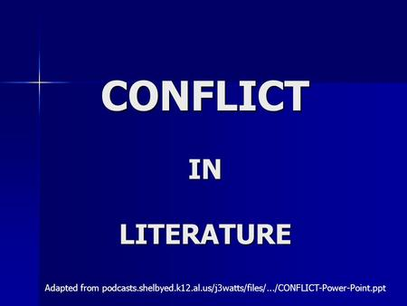 CONFLICT IN LITERATURE Adapted from podcasts.shelbyed.k12.al.us/j3watts/files/.../CONFLICT-Power-Point.ppt‎