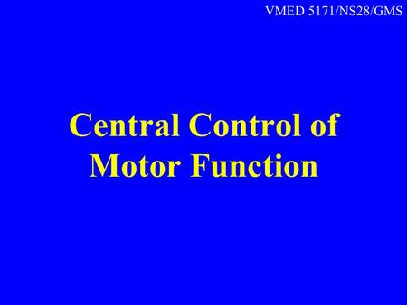 Central Control of Motor Function VMED 5171/NS28/GMS.