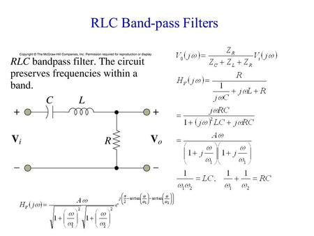 RLC Band-pass Filters. Band-pass Filters and Resonant Circuits Resonant frequency Quality factor.