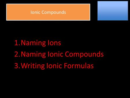 Ionic Compounds AnionsCations 1.Naming Ions 2.Naming Ionic Compounds 3.Writing Ionic Formulas.