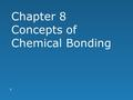 Chapter 8 Concepts of Chemical Bonding 1. Chemical Bonds  Three basic types of bonds:  Ionic  Electrostatic attraction between ions  Covalent  Sharing.