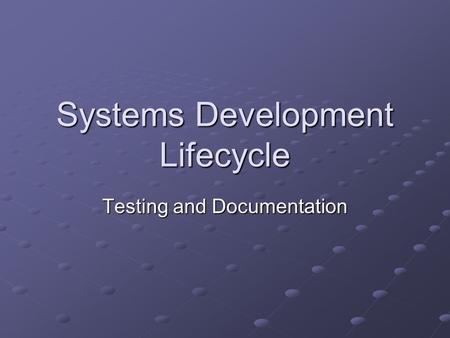 Systems Development Lifecycle Testing and Documentation.