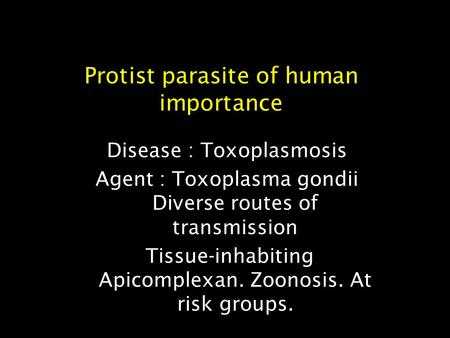 Protist parasite of human importance Disease : Toxoplasmosis Agent : Toxoplasma gondii Diverse routes of transmission Tissue-inhabiting Apicomplexan. Zoonosis.