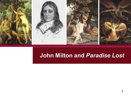 John Milton and Paradise Lost UESTC 1. 2 400 th Anniversary of Milton's Birth 1608-2008.