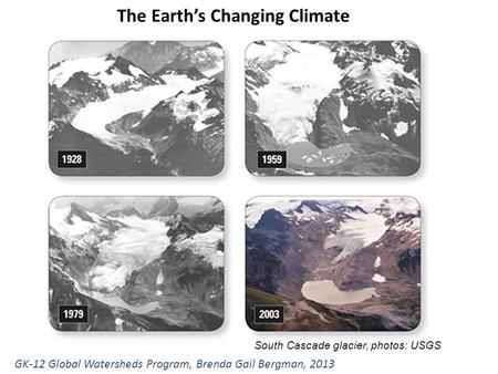 The Earth's Changing Climate GK-12 Global Watersheds Program, Brenda Gail Bergman, 2013 South Cascade glacier, photos: USGS.