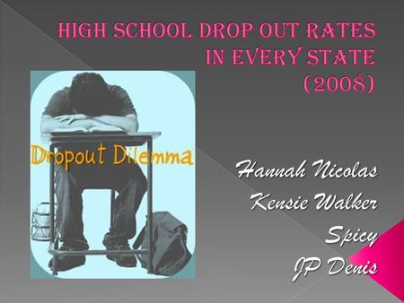  As a group, we thought it be interesting to see how many of our peers drop out of school.  Since in the United States education is so important, we.