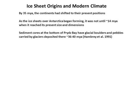 Ice Sheet Origins and Modern Climate By 35 mya, the continents had shifted to their present positions As the ice sheets over Antarctica began forming,