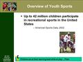 REC 4110 Youth Sport Programming & Administration Overview of Youth Sports  Up to 42 million children participate in recreational sports in the United.