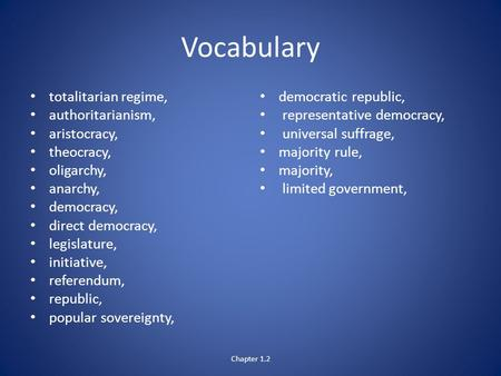 Vocabulary totalitarian regime, authoritarianism, aristocracy, theocracy, oligarchy, anarchy, democracy, direct democracy, legislature, initiative, referendum,