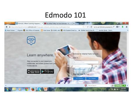 Edmodo 101. Home Screen Your profile Action Tabs Calendar, tools and app$ Your Groups Search Box.