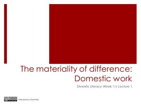 The materiality of difference: Domestic work Diversity Literacy Week 11/ Lecture 1 Prepared by Claire Kelly.