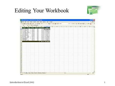 Introduction to Excel 20021 Editing Your Workbook.