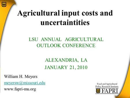 Agricultural input costs and uncertaintities LSU ANNUAL AGRICULTURAL OUTLOOK CONFERENCE ALEXANDRIA, LA JANUARY 21, 2010 William H. Meyers