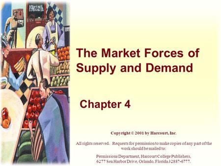 The Market Forces of Supply and Demand Chapter 4 Copyright © 2001 by Harcourt, Inc. All rights reserved. Requests for permission to make copies of any.
