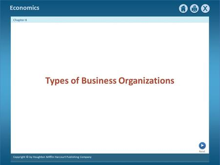 Economics Next Chapter 8 Copyright © by Houghton Mifflin Harcourt Publishing Company Types of Business Organizations.