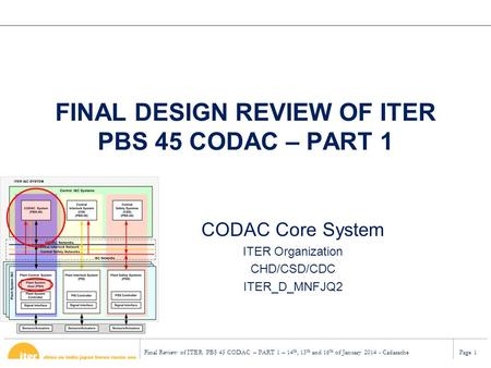 Final Review of ITER PBS 45 CODAC – PART 1 – 14 th, 15 th and 16 th of January 2014 - CadarachePage 1 FINAL DESIGN REVIEW OF ITER PBS 45 CODAC – PART 1.
