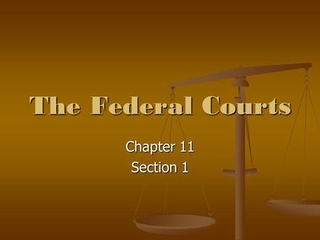 The Federal Courts Chapter 11 Section 1. Constitutional Origins The courts are established by Article III of the Constitution. The courts are established.