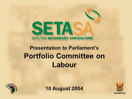 Presentation to Parliament's Portfolio Committee on Labour 10 August 2004.