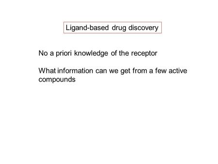 Ligand-based drug discovery No a priori knowledge of the receptor What information can we get from a few active compounds.