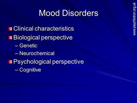 an analysis of the characteristics of bipolar affective disorder Abstract background although genetic epidemiological studies have confirmed increased rates of major depressive disorder among the relatives of people with bipolar affective disorder, no report has compared the clinical characteristics of depression between these two groups.