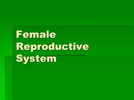 Female Reproductive System.  Like the male reproductive system is made of internal and external structures  The internal organs provide the environment.