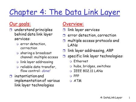 4: DataLink Layer1 Chapter 4: The Data Link Layer Our goals: r understand principles behind data link layer services: m error detection, correction m sharing.