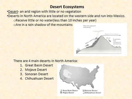 Desert Ecosystems Desert- an arid region with little or no vegetation Deserts in North America are located on the western side and run into Mexico. o Receive.